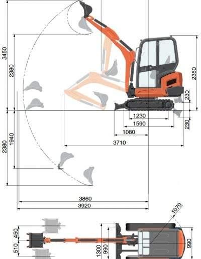 Pásové rypadlo Kubota KX 018-4 - Specifikace